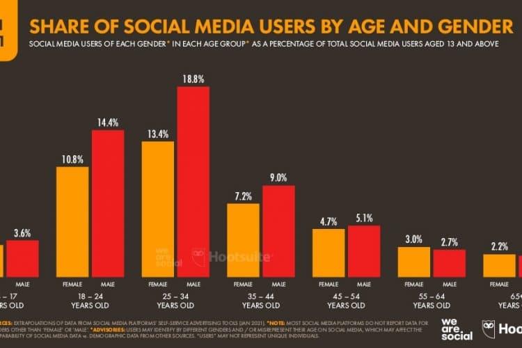 Yaş ve Cinsiyete göre Sosyal Medya Kullanıcıları
