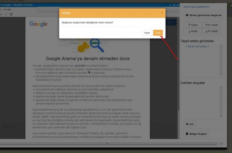 e-tespit belge onaylama