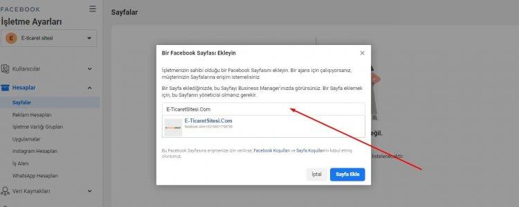 bir facebook sayfası ekleme