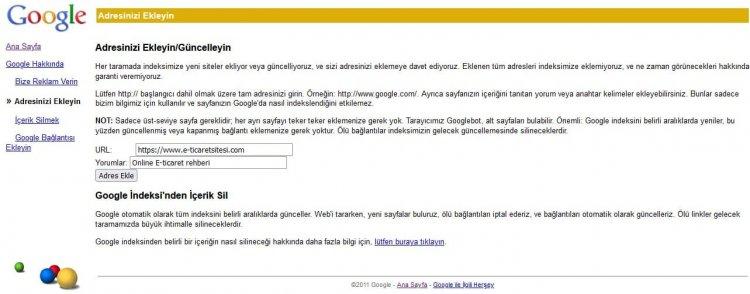 Sitemizi Google Arama Motoruna Ekleme