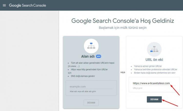 Google search console web sitesi ekleme