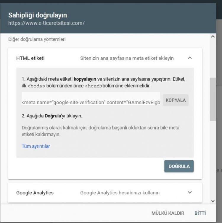 google search console sahipliği doğrulama