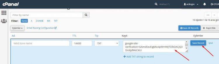 cpanel google doğrulama kodu